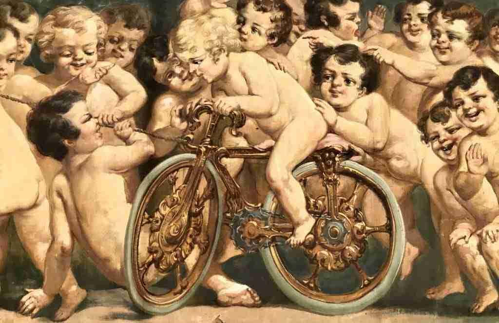 olio su tela allegoria putti 23 personaggi putto in bicicletta 0618031