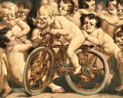 Outlet - Olio su tela allegoria putti 23 personaggi putto in bicicletta - Liquidazione/Svendita