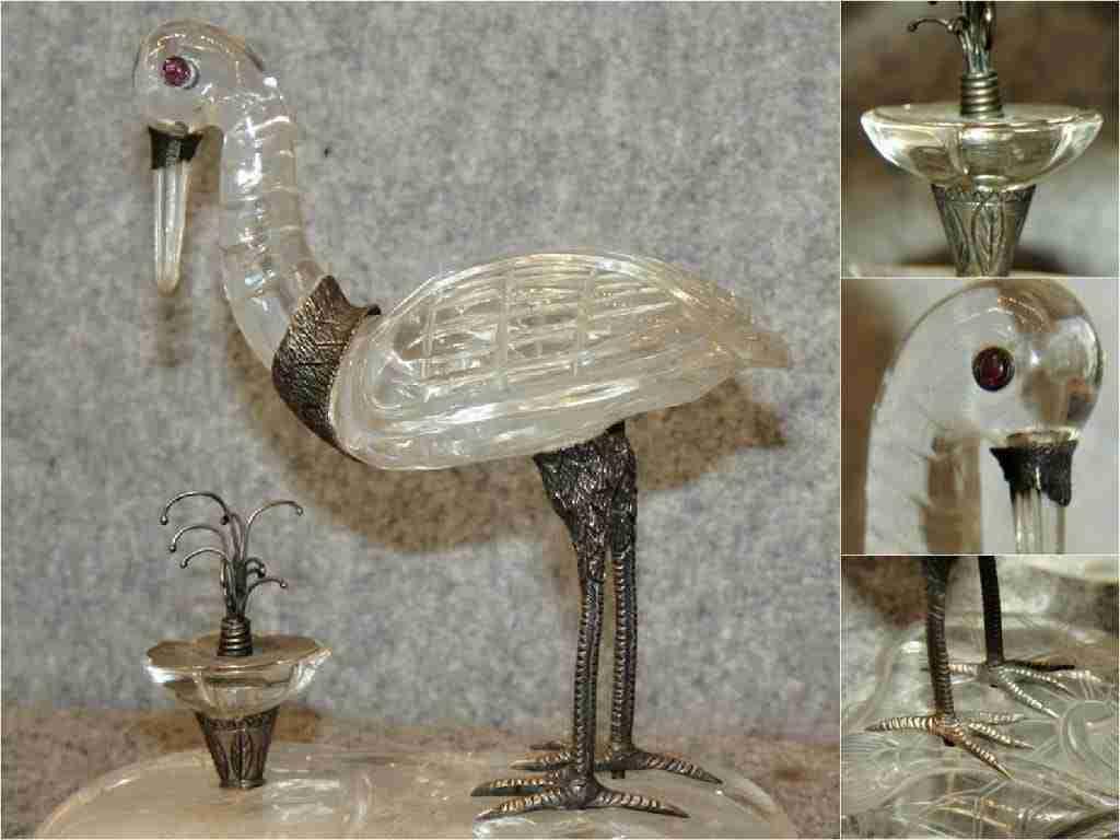 Scultura in cristallo di rocca e argento