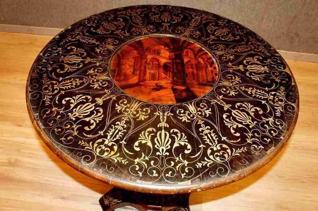 Tavolo tavolino intarsiato Gabriele Capello
