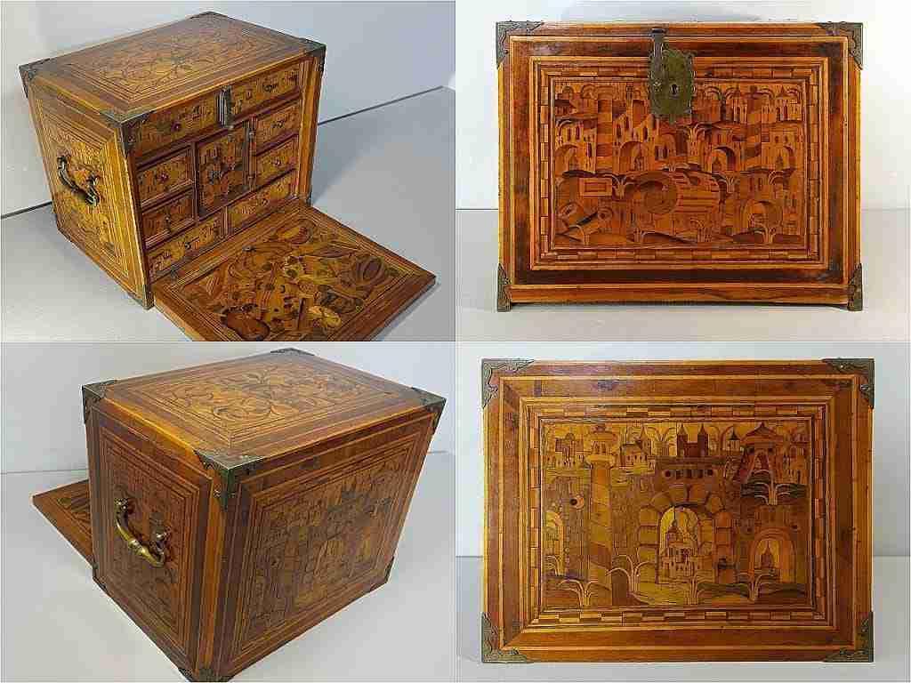 Scatola monetiere cassettiera battants intarsiata con città miniate ed elementi fantastici