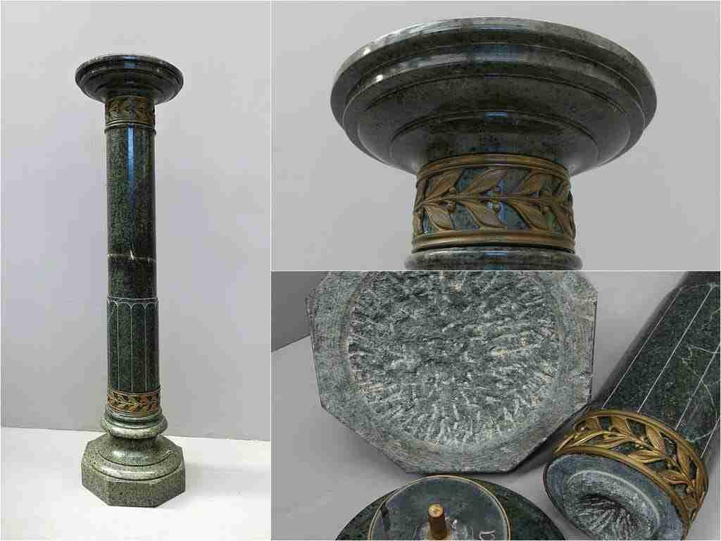 Colonna Liberty in marmo verde alpi e applicazioni in bronzo dorato 1018003