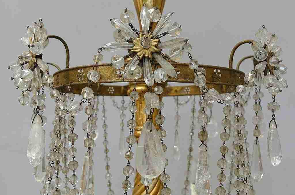 Uno di tre grandi lampadari gemelli cristallo di rocca epoca 700 Luigi XVI 1018006