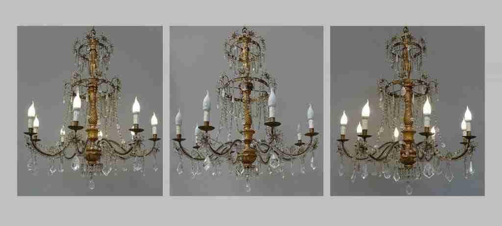 tre grandi lampadari gemelli cristallo di rocca epoca 700 Luigi XVI 1018005