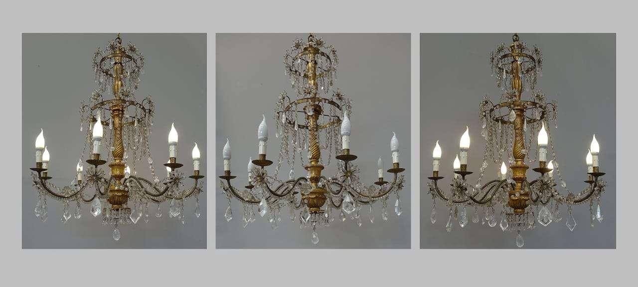 Tre grandi Lampadari gemelli cristallo di rocca epoca 700 Luigi XVI