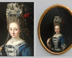 Dipinto ovale olio su tela  raffigurante Dama XVIII secolo