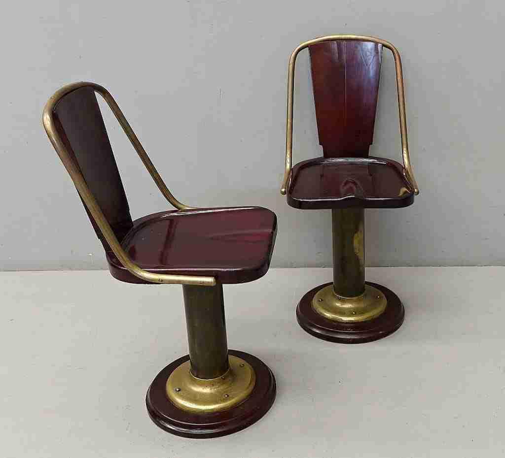 coppia di sedie poltrone in mogano arredo navale