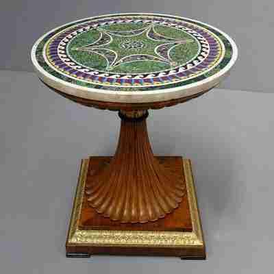 Tavolo piano marmo firmato F. Sibilio 1824