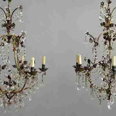 Coppia di lampadari in cristallo di rocca Luigi XIV