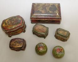 Cofanetto scatola veneziana legno laccato e decorato epoca '700