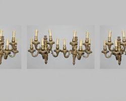 Gruppo di 6 appliques in bronzo dorato