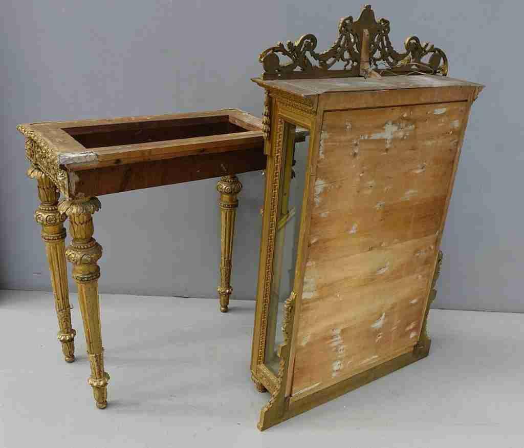 Consolle vetrina Luigi XVI dorata e intagliata – Gognabros.it