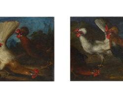 Giorgio Duranti coppia di Dipinti olio su tela raffiguranti galline