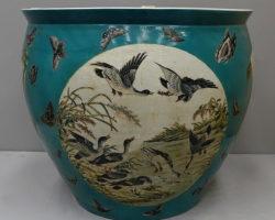 Vaso giapponese cachepot porcellana policroma