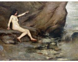 Cesare Tallone - Andromeda incatenata - olio su tela