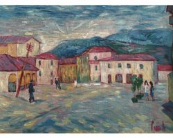 Gigi Cuniolo dipinto raffigurante piazza