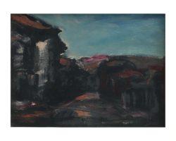 Gigi Cuniolo dipinto raffigurante veduta su paese