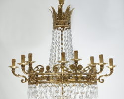 Lampadario 12 luci bronzo dorato e cristallo