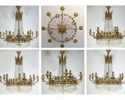 Lampadari a 16 luci bronzo dorato 24 catari e cristallo G.M. Italy