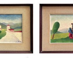 Gigi Cuniolo coppia di dipinti su tela anni 30
