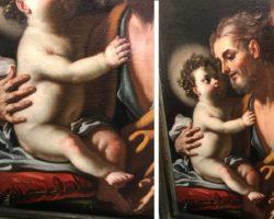 Francesco Solimena (Attrib.) olio su tela San Giuseppe con il Bambino