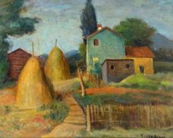 Dipinto olio su tela paesaggio firmato Contardo Barbieri