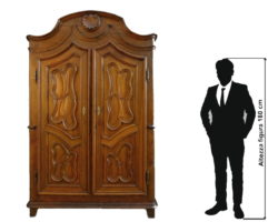 Outlet - Solid walnut paneled baroque wardrobe - Clearance / Clearance