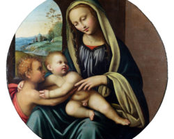 """Maestro della Lamentazione di Scandicci"" round oil, Madonna with Child and San Giovannino"
