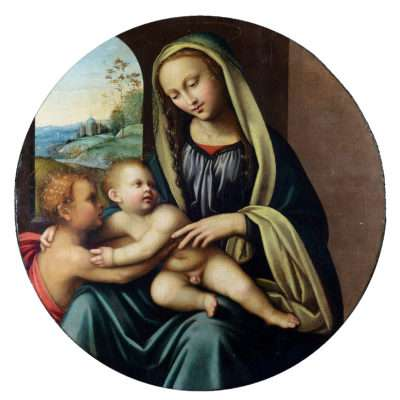 """""""Maestro della Lamentazione di Scandicci"""" tondo ad olio, Madonna con Bambino e San Giovannino"""