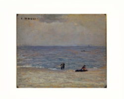 Cesare Maggi - dipinto su tavola spiaggia