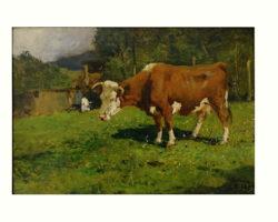 Lorenzo Delleani - Mucca al Pascolo