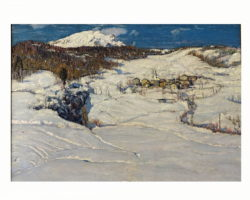 Depetris Giovanni - dipinto olio su tela - titolo: Nevicata