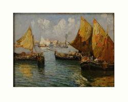 Fausto Pratella dipinto ad olio con barche