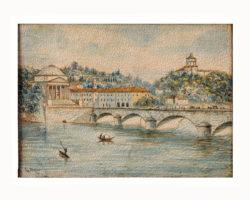 Dipinto miniatura E. Bressy - Ponte sul Po e Chiesa della Gran Madre di Dio Torino