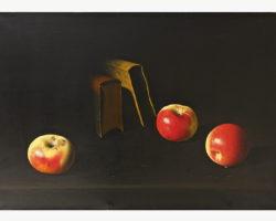 Dipinto natura morta raffigurante libri e frutta