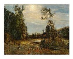 Antonio Fontanesi paesaggio dipinto ad olio