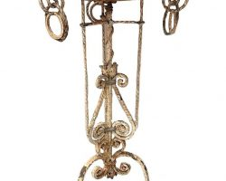 Umberto Bellotto - Trespolo in ferro battuto e vetro di Murano