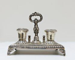 Calamaio in argento antico, genovese croce Mauriziana , dopo il 1824