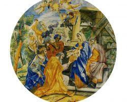 Piatto maiolica policroma dipinta - Visitazione dei Magi