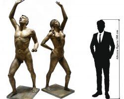 Nudo femminile e maschile fusione in bronzo Fonderia Battaglia - Milano