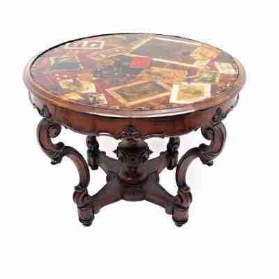 Tavola d'inganno tavolo a cestello Viareggio - firmato e datato Fratelli Rustici 1861, trompe-l'œil.