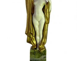 Louis Sosson - ivory bronze and onyx sculpture. Full female nude. 1920/1930 Paris