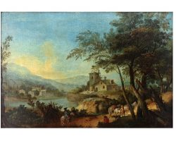 Картина пейзаж масло холст XNUMX век Путешественники на озере
