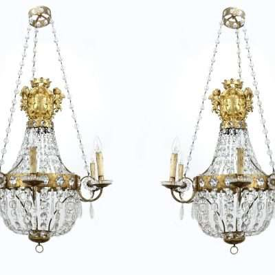 Pair of Baccarat crystal and rock crystal balloon chandeliers. About 1810/20