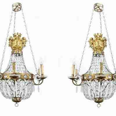 Coppia di Lampadari a mongolfiera cristallo Baccarat e cristallo di rocca. 1810/20 circa