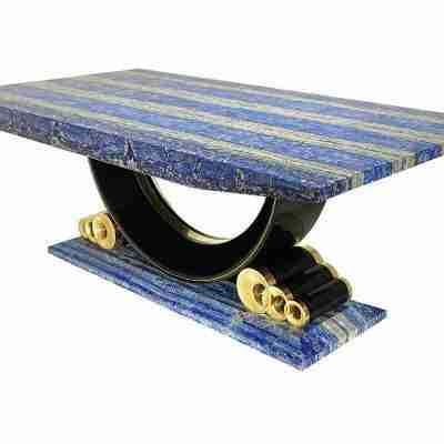 Grande tavolo da pranzo in azzurrite e lapislazzuli stile Decò design italiano
