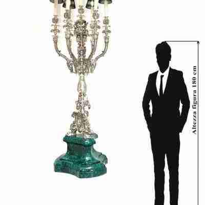 Grande candeliere o candelabro in argento 800 marchiato Brandimarte H 240cm!