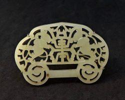 Giada e argento spilla gioiello prezioso porta fortuna Cina Cinese  XIX – XX secolo