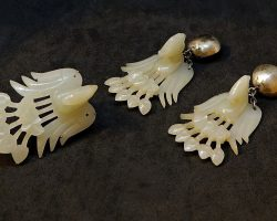 Нефритовые и китайские серебряные серьги и брошь Феникс ювелирные изделия Китай XIX - XX век