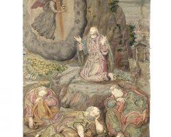 Quadro ricamato e dipinto, ricamo tessuto pergamena dipinta filigrana oro e argento religioso epoca 500